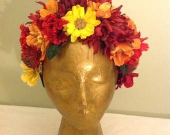 Frida Kahlo inspired headband. Day of the Dead headband. Catrina headband. MEXICAN Wedding headpiece.