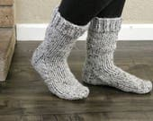 Knit Wool Socks, Cozy Winter Socks, Thick Boot Socks, Cottage Socks, Thick Wool Socks, Women's Wool Socks, Hand Knit Socks, Gift for Her