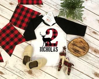Second Birthday, Lumberjack Birthday, 2nd Birthday shirt, Buffalo Plaid Party, Lumberjack Party, Plaid Party Set, Two Wild Birthday, DEER