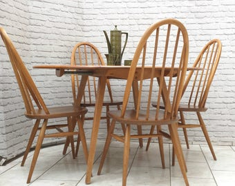 Ercol Blonde Elm Mid Century Drop Leaf Dining Table And 4 Windsor Quaker Stick Back Chairs