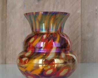 Art Deco Bohemian Kralik vase of iridescent glass.