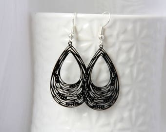 Black earrings, filigree earrings, silver earrings, teardrop earrings, drop earrings