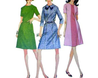 1960's Dress Pattern Mod A-Line Dress, Collared, Color Block Dress, Women's Size 16 1/2 Bust 39 Vintage 60's McCall's 9311