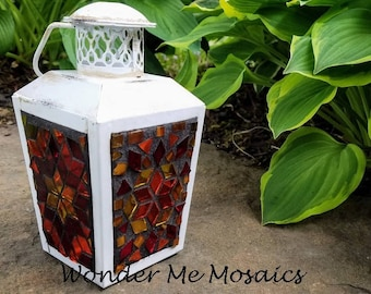 Stained Glass Mosaic Lantern - Mini Sunrise