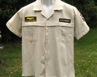 Vintage USAF NASA Short Sleeve Uniform Shirt with Patches