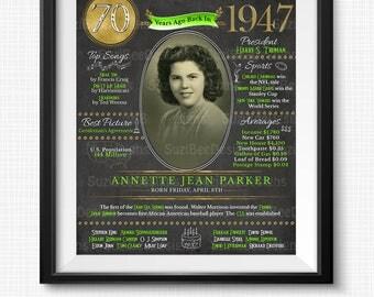 70th Birthday, 1947 Birthday, Birthday Poster,  Birthday Chalkboard, DIY, 70th Birthday Poster, 1947, Printable, DIGITAL FILE, Photograph