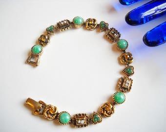 Victorian Revival Bracelet Designer Signed ART Link Peking Glass Cabochons Rhinestones Faux Pearls Gold Tone Metal Mid Century