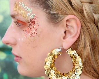 large gold hoop sequin earrings, festival jewellery, party jewellery, christmas, glitter, sparkle, fun, party, colourful, palOMITA