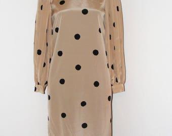 Vintage 1980s Polka Dot Button Down dress by DW3 in size 6