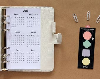 2018 insert yearly calendar, insert year on one page, Filofax Personal insert printed, yearly view