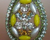 Czech Rhinestone Vintage Easter Egg on Stand #s14