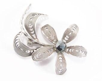 Vintage Sterling Filigree Flower Brooch Hematite Stone