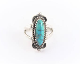 Vintage Native American Sterling Turquoise Ring Size 7