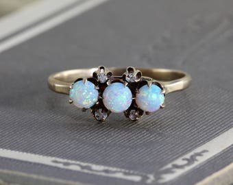 Antique Opal and Rose Cut Diamond Ring, Victorian 10k Yellow Gold Stacking Band, October Birthstone Gift Jewelry