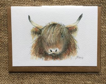 Highland Cow greetings card, blank inside