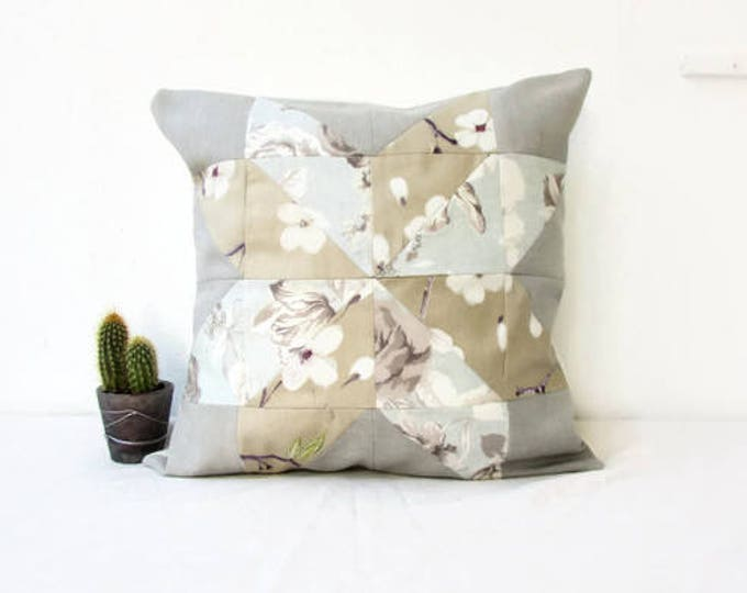 Patchwork cushion cover, neutral rustic decor