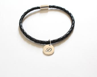 Leather Bracelet with Sterling Silver Cursive D Letter Charm, Bracelet with Silver Letter D Pendant, Initial D Charm Bracelet, D Bracelet