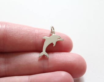 Sterling Silver Dolphin Charm, Simple Dolphin Charm, Cute Dolphin Charm, Dolphin Pendant, Dolphin Charm, Flat Plate Dolphin Charm, Dolphin