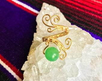 Green Aventurine Handmade Ring || Gold Adjustable Gemstone Ring