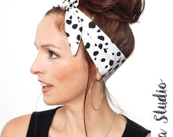 Dalmatians Headband Dalmatians Pattern Polka dot Hair Scarf White Head Wrap Black Dolly Bow Hair Accessories White Bandana Cruella Costume