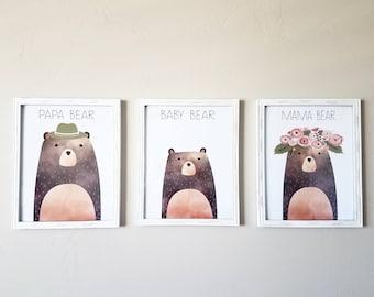 Goldilocks and Three Bears Printables, Nursery Printables, mama bear, papa bear, baby bear