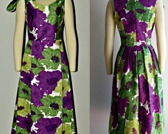 Floral Dress, Cotton Dress, Print Dress, Midi Dress, Purple Dress