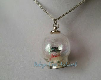 Snowman Glass Globe Necklace with White Glitter Snow on Silver Crossed Chain or Black Faux Suede Cord. Christmas, Winter