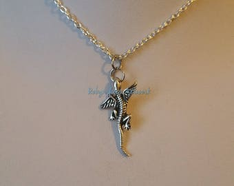 Very Small Silver Flying Dragon Winged Lizard Gecko Charm Necklace on Silver Crossed Chain or Black Faux Suede Cord. Cute, Costume