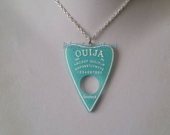 Light Blue Glitter Resin Ouija Board Planchette Pendant Necklace on Silver Crossed Chain or Black Faux Suede Cord. Spirit, Gothic, Pastel