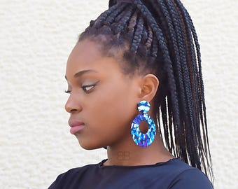 Textile hoop earrings, African fabric earrings, african fabric jewellery, blue hoop earrings, boucles d'oreilles africains, tissu wax