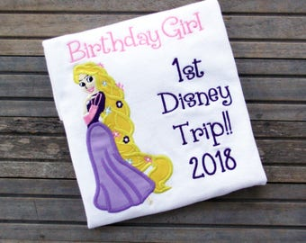 Embroidered Rapunzel Shirt, 1st Trip to Disney Shirt, Disney Birthday Shirt, First Trip to Disney Shirt