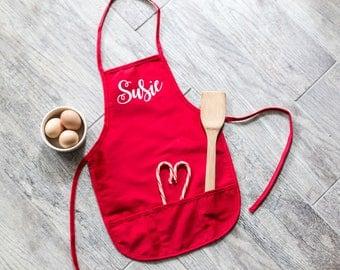Farmhouse Style Personalized Name Kid's Child's Apron Girl Christmas Gift Kitchen Baking Cooking Artist