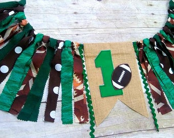 Football High Chair Banner, Fabric Banner, Football Highchair Banner, Football Banner, Can Do Custom Colors, Photo Prop