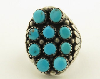 Vintage Hand Made Native American Natural Turquoise Sterling Silver Ring / Size 10.5.