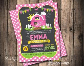 Farm Birthday Invitation Girl Farm Birthday Pink Farm Invitation Girl Farm Invitation Girl Farm Invite Digital File by Busy bee's Happenings