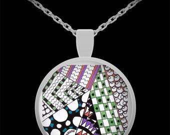 "Zentangle Necklace - Colored Tangle Art Necklace hand drawn by ZenJoanie - ""Angles"""