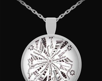 "Zentangle Necklace - B/W Tangle Art Necklace hand drawn by ZenJoanie - ""Centered"""