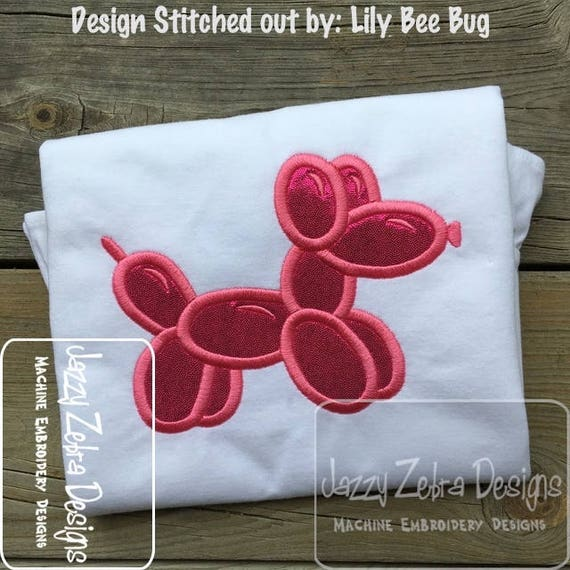 Dog balloon animal applique embroidery design - dog appliqué design - balloon appliqué design - birthday appliqué design - puppy appliqué