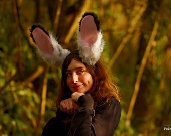 READY TO SHIP! Grey Black White & Pink Rabbit Ears Headband and Cute Grey Rabbit Tail Set!