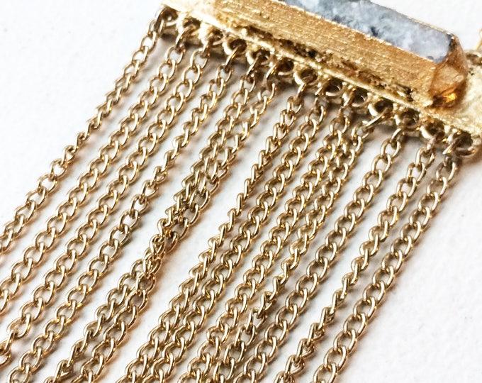 Rainbow Moonstone Fringe Necklace