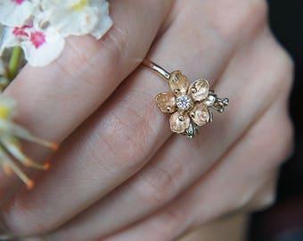 Unique diamond ring, yellow gold ring, engagement ring, gold flower ring, flower engagement ring, proposal ring, romantic ring, unique ring