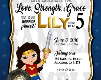 Wonder Woman Birthday Invitation
