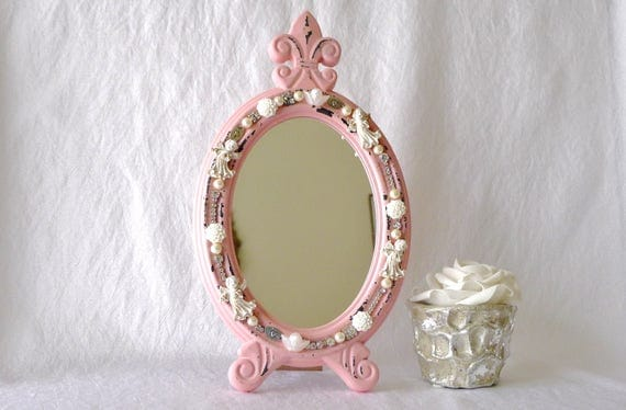 Kosmetikspiegel handspiegel rosa schmuck spiegel for Spiegel zum aufstellen