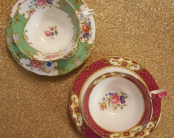 Dainty Pink Patterned Aynsley Tea Cup & Saucer Set With Floral and Gold Accents