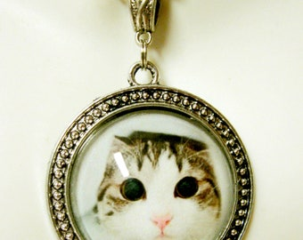 Big eyes kitty pendant with chain - CAP26-008