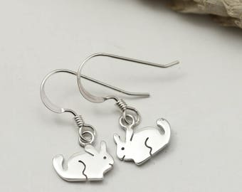Sterling Silver Chinchilla Earrings - Chinchilla Jewellery - Drop Earrings