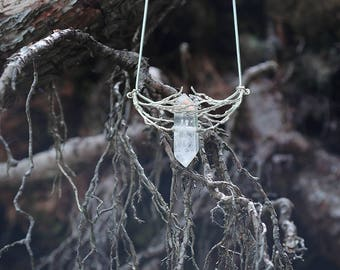 Silver Twig Crystal Pendant - Ice Claws, Elven Necklace, Strega, Pagan, Bohemian Pendant, Witchy Pendant, Mori, Silver Branch, Claw Necklace