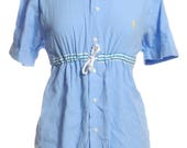 Vintage Ralph Lauren Upcycled Blue Nautical Shirt Dress 12  www.brickvintage.com