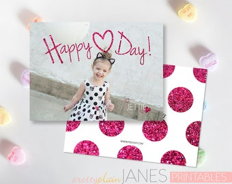 Happy Heart Day Valentine Photo Card Printable   Custom Valentine   Digital Printable Valentine   Classroom Valentine