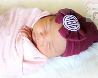 Monogrammed Bow Hat - Maroon - Burgundy- Large Bow Hospital Hat - Girls Hospital Hat - Newborn Coming Home - Hospital Hat, Bow Hat, Fall